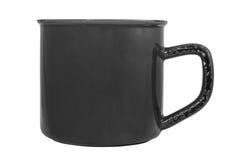 Tasse vide noire d'émail Image stock