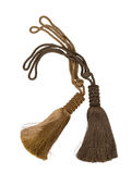 Tassel. Brown curtain tassel isolated on white. With clipping path royalty free stock photography