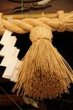 Tassel. A large brown tassel decorates a Shinto Shrine in the city of Fukuoka, Japan royalty free stock image