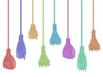 Free Tassel Trim. Fabric Curtain Tassels, Fringe Bunch On Rope And Pillow Colorful Embelishments Isolated Vector Set Royalty Free Stock Photos - 138923168