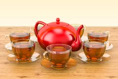 Tassen Tee und Teekanne auf dem Holztisch Wiedergabe 3d Lizenzfreies Stockbild