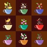 Tasses avec des baies de service à thé, citron, menthe, vanille Photographie stock