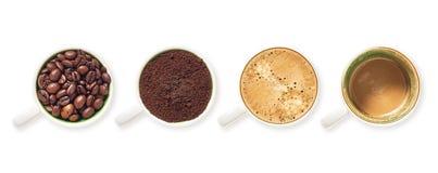 Tasses blanches remplies du café Photographie stock libre de droits