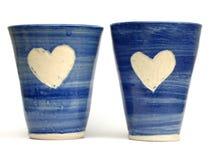 Tasses bleues d'amour Photo stock