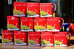 Tasses chez le Christkindlmarkt Photos libres de droits