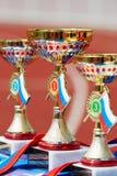 Tasses d'or pour des gagnants XXI de supermarathon de Moscou Images stock