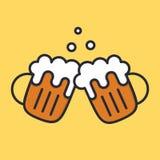 Tasses de bière d'acclamations avec la mousse et les bulles Icône d'alcool de bande dessinée Illustation plat de vecteur Photographie stock