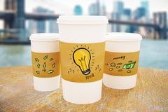 Tasses de café avec le croquis d'idée illustration de vecteur