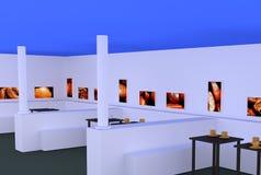 Tasses de café blanches et d'or avec la soucoupe sur des tables avec une surface réfléchie foncée Photographie stock libre de droits