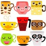 Tasses de café/cuvettes animales Photographie stock