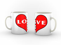 Tasses de café d'un couple Hearted cassé Photographie stock