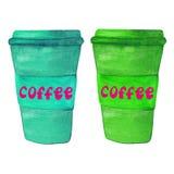 Tasses de café de papier Photo libre de droits