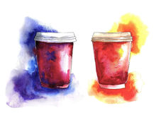 Tasses de café de papier d'aquarelle avec l'éclaboussure et la tache Image stock
