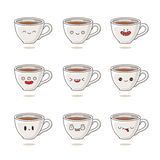 Tasses de café mignonnes et drôles avec différentes émotions Photos stock
