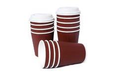 Tasses de carton pour les boissons chaudes et de froid Photographie stock