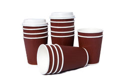 Tasses de carton pour les boissons chaudes et de froid Photos libres de droits