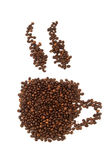 Tasses de grains de café Images libres de droits