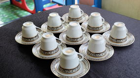 Tasses de thé du plat Images stock