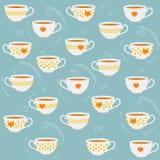 Tasses de thé mignonnes Dirigez la configuration sans joint illustration de vecteur