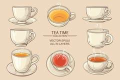 Tasses de thé réglées Illustration de Vecteur