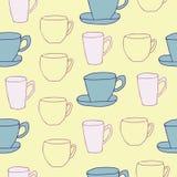Tasses de thé sur le fond jaune illustration libre de droits