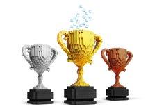 Tasses de trophée de Voxel Photo stock