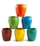 Tasses empilées de couleur Photographie stock libre de droits