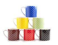 Tasses empilées de couleur Photo libre de droits