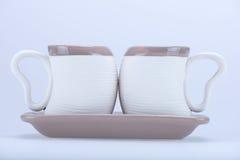 2 tasses en forme de coeur Images stock