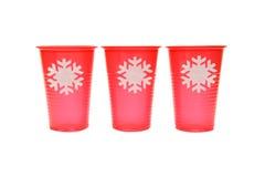 Tasses en plastique rouges Photo libre de droits