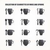 Tasses et cuillères Images stock