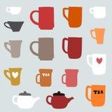 Tasses et tasses de porcelaine Photographie stock