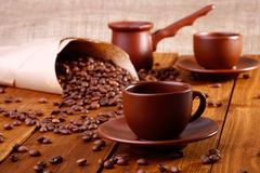 Tasses et ustensile de Coffe Image stock