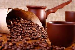 Tasses et ustensile de Coffe Image libre de droits