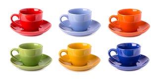 Tasses multicolores d'isolement Images stock