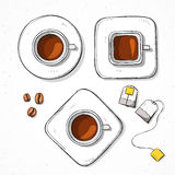 Tasses réglées d'isolement, grain de café, style fait main de croquis de sachet à thé Photo stock