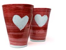 Tasses rouges d'amour Photo stock