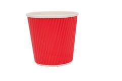 Tasses rouges de carton pour les boissons chaudes Image stock