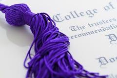Tassle y diploma Fotos de archivo