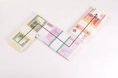 Tasso dei soldi di caduta e di aumento Fotografia Stock Libera da Diritti