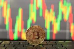 Tasso di Bitcoin sulla moneta di oro e del grafico Fotografia Stock Libera da Diritti