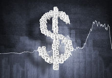 Tasso di cambio del dollaro, rappresentazione 3D Fotografia Stock Libera da Diritti