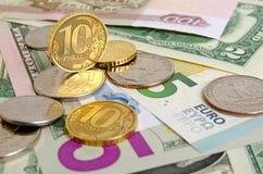 Tasso di cambio della rublo Immagini Stock