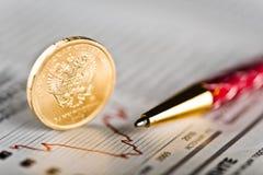 Tasso di cambio della rublo Fotografia Stock