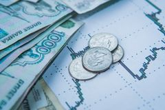 Tasso di cambio della rublo sulle borse valori internazionali Fotografie Stock Libere da Diritti