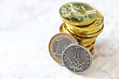 Tasso di cambio soldi dell'euro e corona ceca Fotografia Stock
