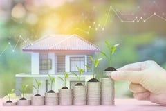 Tasso di interesse su e contando concetto, pianta che crescono su pila di monete soldi e la casa del modello su fondo verde natur royalty illustrazione gratis