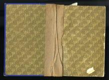 Tast het schutblad van een oud boek, gele bruin, met dicht en ingewikkeld bloemenpatroon af stock foto