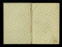 Tast het schutblad van een oud boek, groen-grijs-bruin, met dicht en ingewikkeld bloemenpatroon af stock afbeelding