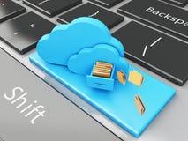 Tastatur 3d mit Aktenspeicherung in der Wolke Lizenzfreies Stockbild